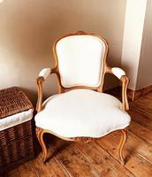 French Antique Style Chairs / Louis XV Armchairs / Walnut Chairs / Fauteuils (7 of 8)