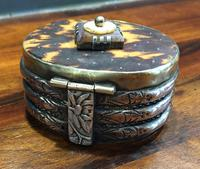 Early Tortoiseshell Inlaid Snuff Box Pique Work Brass Body Copper Bands Silver Strapping (2 of 9)