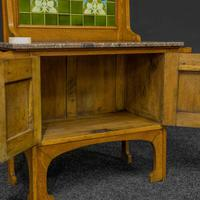 Arts & Crafts Oak Washstand with Marble Top (6 of 14)