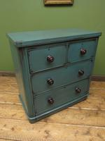Antique Small Green Painted Chest of Drawers, Bohemian Peacock Green Shabby Chic (10 of 16)