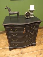 Antique Reproduction Black Painted Chest of Drawers, Lockable Bachelors Chest (17 of 17)