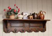 French Oak Wall Shelf With Hooks (5 of 5)