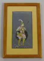 Antique Indian Gouache Painting Mughal Warrior (3 of 3)