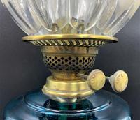 Lovely Tall 19thc Twin Burning Royal Blue Glass & Brass Table Oil Lamp (7 of 11)
