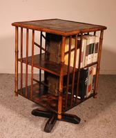 English Revolving Bookcase Early 20th Century in Bamboo & Asian Decor (3 of 10)