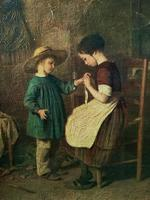 Enchanting Early 1900s Continental Portrait Oil Painting of Maid & Little Boy (4 of 12)