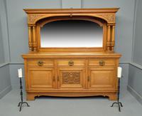 Edwardian Light Oak Carved Mirror-back Sideboard (3 of 17)