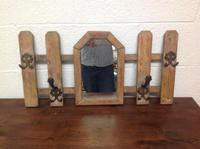 Vintage French Picket Gate Hallway Coat Hat Rack with Mirror