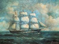 Original Seascape Oil Painting of 18th Century Tall-Masted Ship on the High Seas (9 of 12)