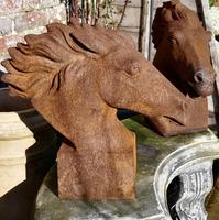 Pair of Large Outdoor Weathered Cast Iron Horse Heads (7 of 7)