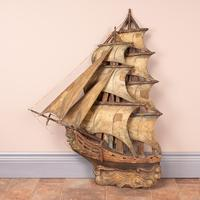 Carved Wooden Galleon Model