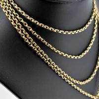 Antique Victorian Long Rolled Gold Guard Muff Chain Necklace (4 of 9)