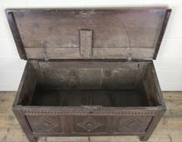 Antique 18th Century Oak Coffer With Carved Front (13 of 16)