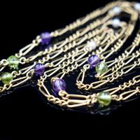 Antique Amethyst Peridot and Pearl Fiagro 15ct 15k Gold Long Guard Chain Necklace Suffragette (8 of 9)