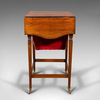 Antique Drop Leaf Sewing Table, English, Rosewood, Side, Lamp, Regency c.1820 (6 of 12)