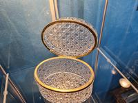 Antique Bohemian Cut to Clear Glass Crystal Box with Gilded Metal Mount (5 of 9)