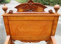 1900's Quality Walnut X Chair with Inlay & Pretty Upholstered Seat (4 of 4)