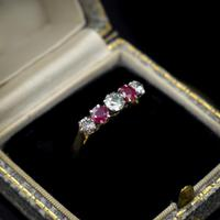 Vintage Ruby & Diamond 18ct 18K Yellow Gold Five Stone Ring (9 of 10)