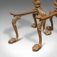 Pair  of Antique Decorative Fireside Tool Rests, French, Brass, Andiron, Victorian (10 of 12)