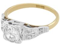 0.80ct Diamond & 18ct Yellow Gold Solitaire Ring - Vintage c.1940 (3 of 9)