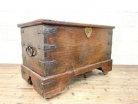 Antique Mahogany Metal Bound Trunk with Wheels