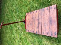 English Vintage Railway Willmot Trolley Oak Iron Plank Top Coffee Wheel Table (22 of 25)