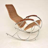 1970's Vintage Rattan & Chrome Rocking Chair (4 of 12)