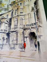 Massive Modern British Watercolour- Fred Marshally ? London Street Scene (6 of 7)
