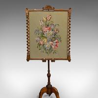 Antique Adjustable Fire Screen, Walnut, Needlepoint, Decorative, Pole, Regency (7 of 12)