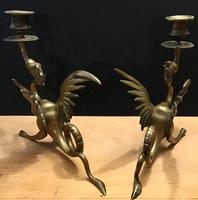 Pair of Decorative Brass Candlesticks in the shape of Dragons (6 of 6)