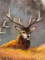 """Oil Painting Scottish Stags """"Denizens of the Highlands"""" Signed Wendy Reeves (6 of 45)"""