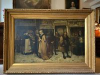 Substantial 19th Century Flemish Oil Painting of Locals in Brugge by Dumont (14 of 21)