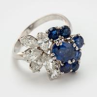 Vintage Chaumet 1.93 Carat Sapphire & 0.90 Carat Diamond Dress Ring c.1960 (6 of 9)