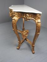 George II Style Marble Top Gilded Console Table (7 of 12)