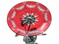 Silver Plate Boy & Girl Comports with Engraved Ruby Red Dishes (2 of 5)