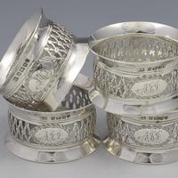 Cased Set 4 Victorian Silver Napkin Rings Nautical / Fishing Theme (9 of 10)