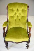 Antique Mahogany & Green Upholstered Armchair (9 of 11)