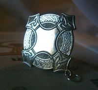 Vintage Pocket Watch Chain Fob 1940s Large Silver Chrome Celtic Shield Fob Nos