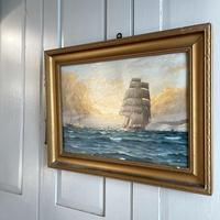 Antique Marine Oil Seascape Painting of Tall Sailing Ship at Sunset by Harry Noyes Lewis (7 of 10)