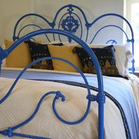 Blue Curly Iron Victorian Antique Bed (3 of 6)