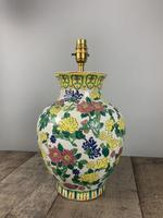 English Floral Vase Table Lamp, Rewired & Pat Tested c.1900 (7 of 9)