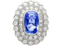 6.25 ct Ceylon Sapphire & 3.75ct Diamond, Platinum Dress Ring c.1930 (3 of 12)