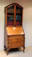 Burr Walnut Queen Anne Bureau Bookcase (7 of 11)