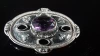 Antique Arts & Crafts Hammered Silver Amethyst Large Brooch (11 of 12)