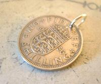 Vintage Pocket Watch Chain Fob 1956 Lucky Silver One Shilling Old 5d Coin Fob (3 of 7)