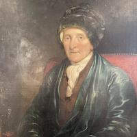 Antique Large Victorian Oil Painting Portrait of Gentleman in Smoking Jacket & Hat (4 of 10)