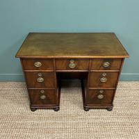 Small Mahogany Victorian Antique Pedestal Desk (3 of 7)