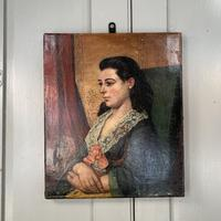 Antique Victorian oil painting portrait Girl in Lace Collar attributed to Dicksee (2 of 9)