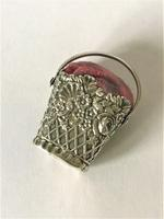Lovely Georgian Silver Basket Pin Cushion (3 of 5)