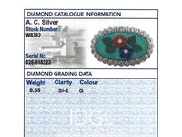 0.55ct Diamond, Malachite, Coral & Jade Brooch - Vintage c.1960 (8 of 9)